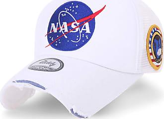 Ililily NASA Meatball Logo Embroidery Baseball Cap Apollo 1 Patch Trucker Hat (Medium, White)