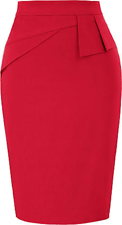 Belle Poque Bodycon Contrast Back Stretchy Knee Length Pencil Skrits for Female Red 815 XX-Large