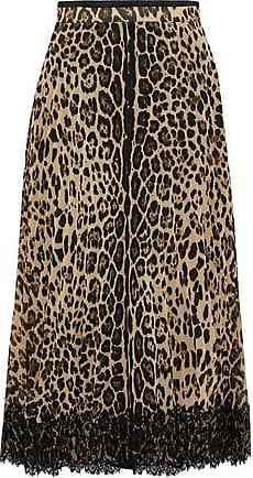 90c9a06a32653 Red Valentino Redvalentino Woman Lace-paneled Leopard-print Chiffon Midi  Skirt Black Size 40