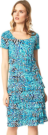 Ladies Women Roman Originals Nautical Rope Puff Print Short Sleeve Shift Dress