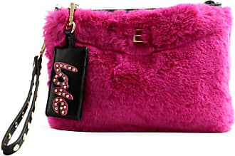 Ermanno Scervino Womens purse bag faux fur fuchsia with Love pendant. Leather strap to carry on the wrist and zip closure