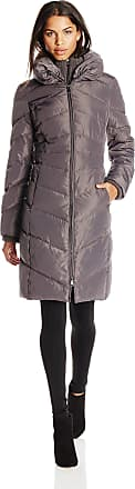 Jessica Simpson Womens Long Chevron Down Coat with Hood, Charcoal, Small