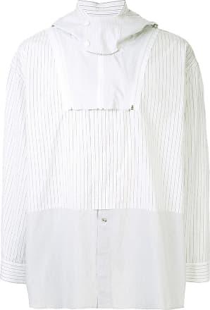 Yoshiokubo mix striped hooded shirt - White