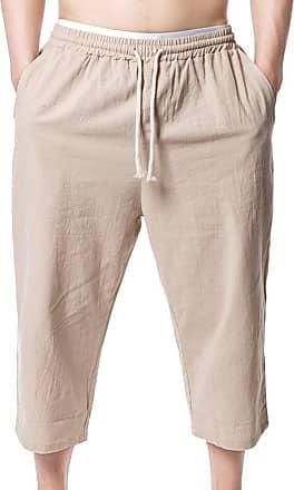 junkai Mens Summer Plus Size Baggy 3/4 Capri Shorts Casual Pants Bermuda Khaki XL