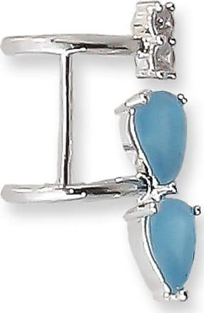 Renata Rancan Piercing Fake Pressão Orelha com Zircônias Banho em Ródio Branco - Azul
