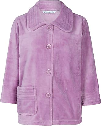 Slenderella Womens Button Up Soft Fleece Bed Jacket Housecoat with Pocket Large (Heather)