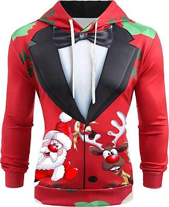 JERFER Ugly Christmas Man Xmas Shirt 3D Printed Santa Funny Sweatshirt Hoodie Shirt