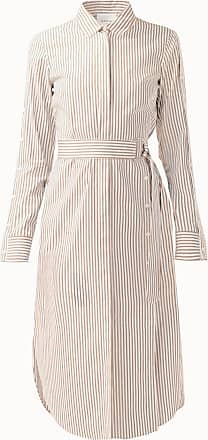 Akris Striped Cotton Poplin Midi Shirt Dress