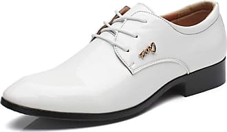 LanFengeu Men Formal Shoes Comfortable Breathable Oxford Lace up Derbys Business Work Wedding Party Pointed Toe Leather Shoes White