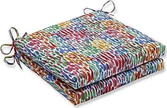 Pillow Perfect Outdoor | Indoor Make It Rain Zinnia Squared Corners Seat Cushion 20x20x3 (Set of 2), Blue 20 X 20 X 3