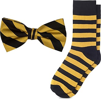 Jacob Alexander Matching College Stripe Dress Socks and Bow Tie - Gold Black