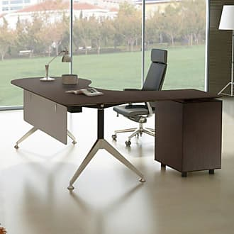 Unique Furniture 300 Collection Executive Teardrop Desk with Left Return Pedestal Espresso - 382-ESP