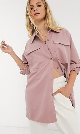 Object oversized shirt with pocket detail in pink