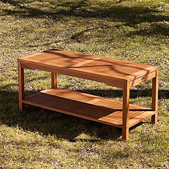 Southern Enterprises Catania Outdoors Wood Cocktail Table - 2 Tier Design w/ Slatted Top - Outdoor Design
