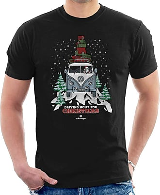 Volkswagen Christmas Camper White Text Mens T-Shirt