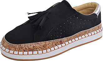 Daytwork Women Round Toe Sneakers Loafer Flats Shoes - Ladies Slip On Trainers Casual Comfort Faux Leather Bass Boat Suede Low Top Moccasins Black