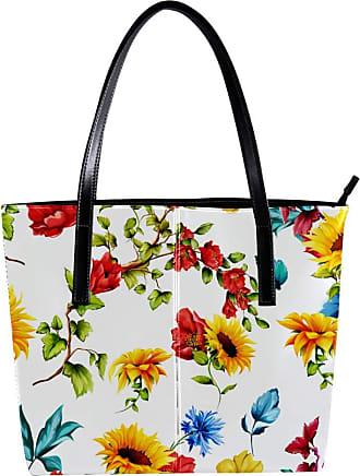 Nananma Womens Bag Shoulder Tote handbag with Sunflowers With Pomegranate Buds And Cornflowers Pattern Zipper Purse PU Leather Top-handle Zip Bags