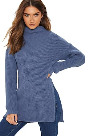 Crazy Girls Womens Ladies High Polo Neck Side Split Knitted Jumper Top UK 8-14 (12-14, Denim)
