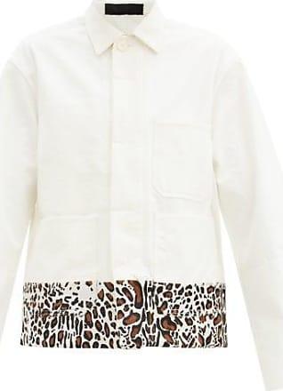 Haider Ackermann Leopard-print Trim Cotton Overshirt Jacket - Mens - Cream