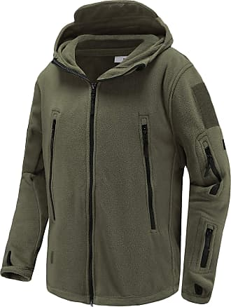 iClosam Mens Windproof Warm Military Tactical Fleece Jacket with Hood Army Green