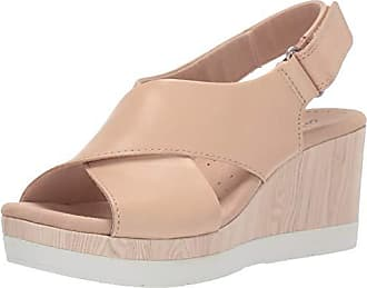 Clarks Womens Cammy Pearl Wedge Sandal Blush Leather 090 W US