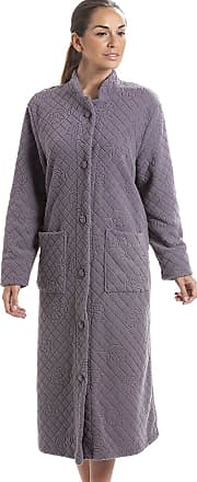 Camille Soft Fleece Full Length Button Up Housecoat 12/14 Dark Grey