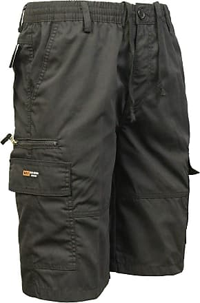 Saute Styles Mens Elasticated Waist Casual Bermuda Combat Cargo Shorts Work Summer Half Pants Size 2XL Black