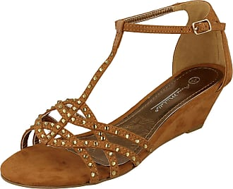 d2c4de4472 Anne Michelle Ladies Anne Michelle Diamante T-Bar Wedge Sandals Tan Size 5