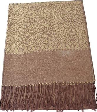 CJ Apparel Gold Brown Paisley Pattern Design Shawl Scarf Wrap Stole Pashmina CJ Apparel NEW