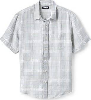 Lands End Leinenhemd mit kurzen Ärmeln für Herren, Classic Fit - Grau - 60 von Lands End