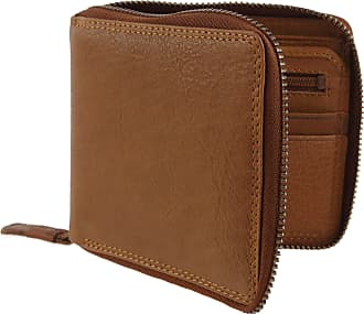 Visconti Mens TAN Leather Zip Around Wallet Coin Pouch Darwin Range Gift Box Oak