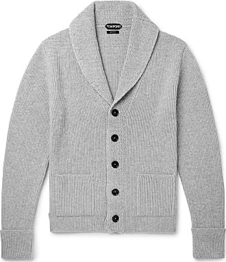 Tom Ford Shawl-collar Ribbed Cashmere Cardigan - Gray