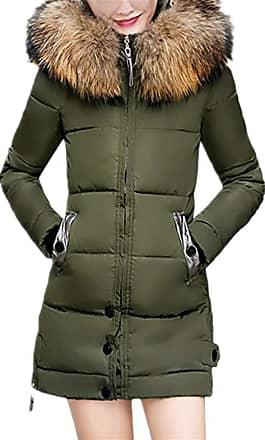 JERFER Women Ladies Slim Hooded Down Padded Long Winter Warm Parka Outwear Jacket Coat