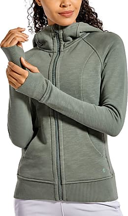 CRZ YOGA Womens Cotton Hoodies Sport Workout Full Zip Hooded Jackets Sweatshirt Grey Sage 14