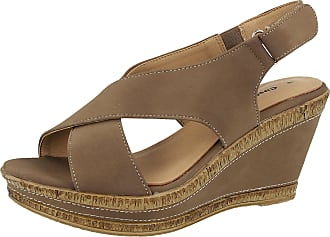0f1e8dae6b2 Cushion-Walk Ladies Wide E Fit Leather Lined Wedge Peep Toe Strappy Summer  Sandal Size