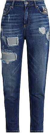 c6e6a4c7ec4c Zoe Karssen Zoe Karssen Woman Embroidered Distressed High-rise Straight-leg  Jeans Mid Denim