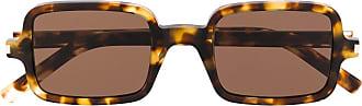 Saint Laurent Eyewear Óculos de sol quadrado com efeito tartaruga - Marrom