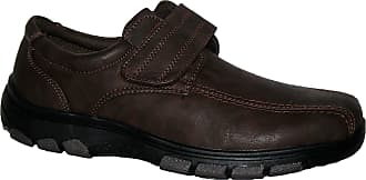 Cushion-Walk Mens Lightweight Casual Shoes, Slip ON and Velcro BAR Strap LS06 Brown 7