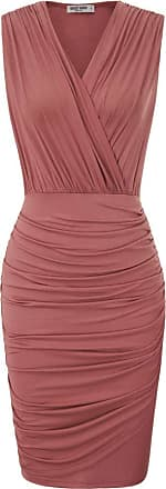Grace Karin Women Dress for Summer Elegant V-Neck Slim Dinner Dance Pencil Dress 50s Ruched Fancy Dress Dark Pink M