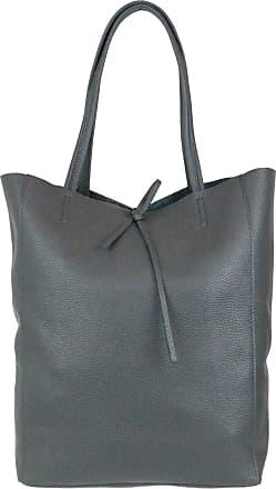 Girly HandBags Girly HandBags Open Top Genuine Leather Handbag - Dark Grey
