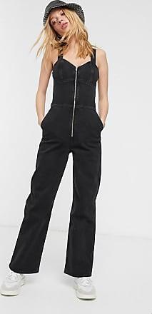 Weekday Augusta zip front sleeveless denim jumpsuit in black