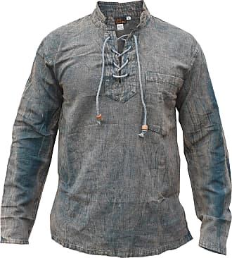 Gheri Mens Hemp Cotton Lace Up V Neck Grandad Shirt Stone Washed Dirty Green XXX-Large
