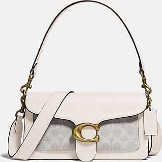 Coach Tabby Shoulder Bag 26 With Signature Canvas in White/Beige
