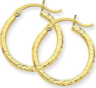 Quality Gold 14kt Yellow Gold Diamond-Cut 2mm Round Tube Hoop Earrings