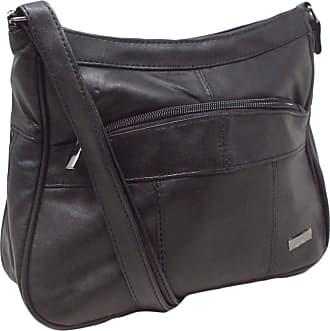 Quenchy London Italian Leather Ladies Handbag Black Soft Leather Shoulder Bag 7691