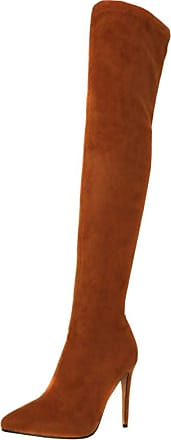 RAZAMAZA Women Fashion Stiletto High Boots Pull On Pointed Toe Party Boots Over The Knee Brown Size 38 Asian