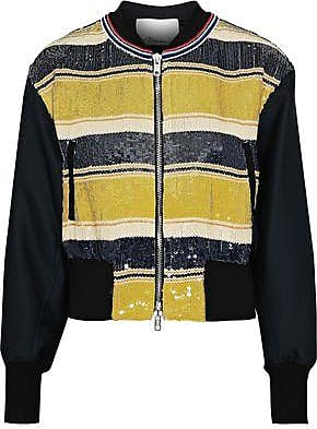 3.1 Phillip Lim 3.1 Phillip Lim Woman Striped Sequined Gauze And Duchesse-satin Bomber Jacket Yellow Size 0