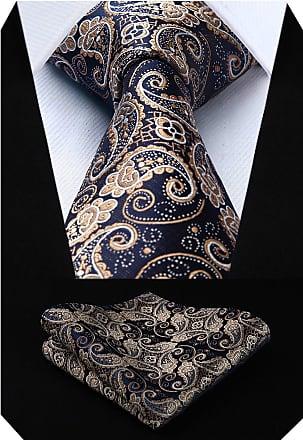 Hisdern Floral Paisley Wedding Tie Handkerchief Mens Necktie & Pocket Square Set?Gold & Navy Blue