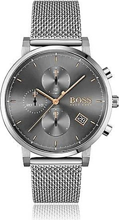 BOSS Grey-dial chronograph watch with mesh bracelet