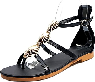 Mediffen Comfort Women T Strap Summer Clip Toe Flat Bohemia Sanndals Classic Casual Sandals Black Size 42 Asian